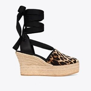 NEW Tory Burch Elisa Leopard Espadrille Wedge 90mm